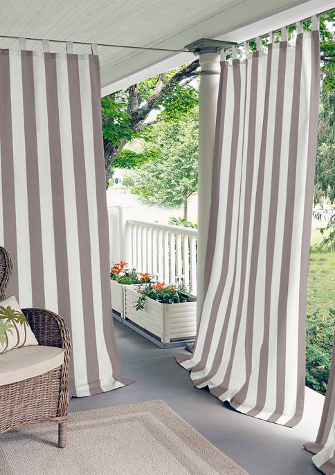Highland Stripe Indoor/Outdoor Window Curtain for Patio, Porch, Cabana