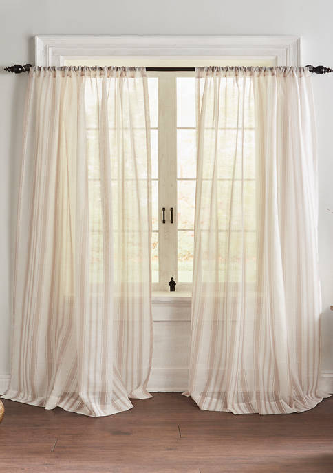 Elrene Hampton Stripe Cottagecore Sheer Window Curtain Panel