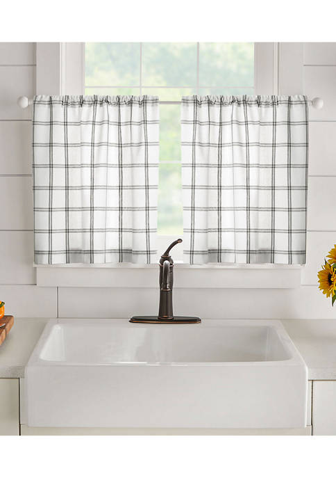 Elrene Farmhouse Living Double Windowpane Plaid Tier Set