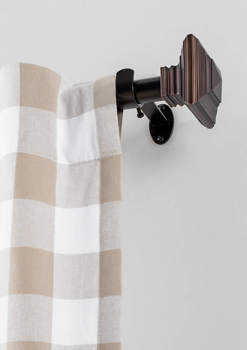 Florence 1 Inch Window Drapery Single Curtain Rod with Square Finial
