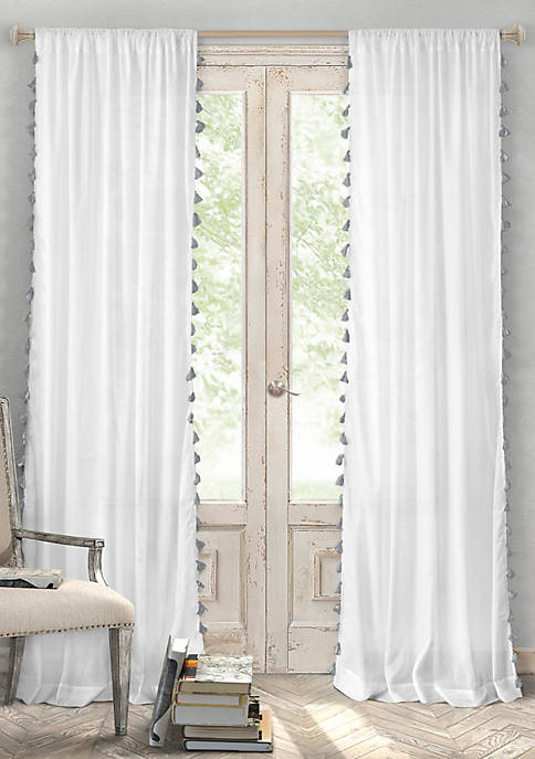 Elrene Bianca Cotton Tassel Trim Single Window Panel