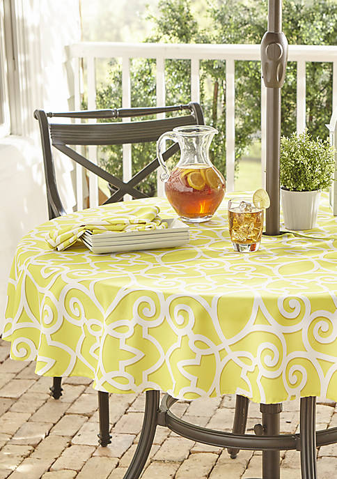 Elrene Chase Geometric Stain Resistant Indoor Outdoor Tablecloth