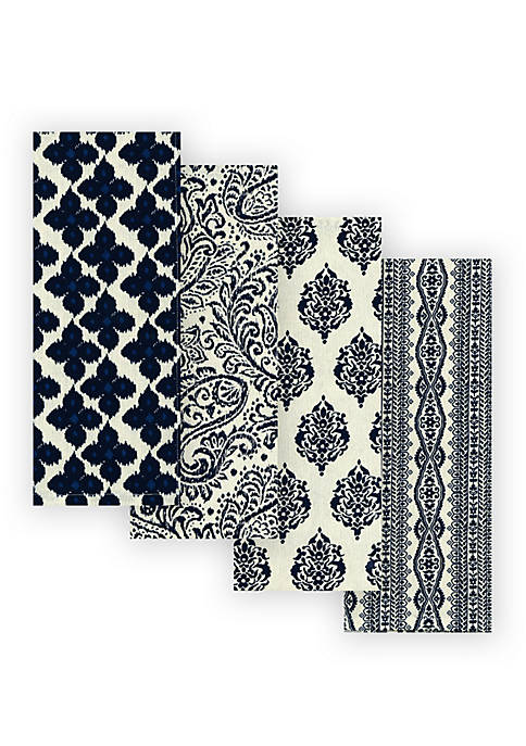 Everyday Casual Prints Assorted Cotton Fabric Kitchen Towels, Set of 4