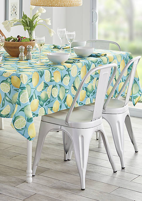 Elrene Lemon Grove Stain Resistant Indoor Outdoor Tablecloth