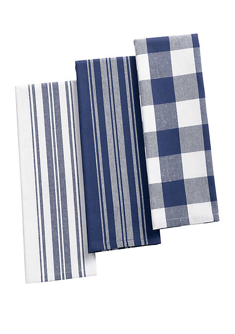 Elrene Farmhouse Living Stripe and Check Kitchen Towels,