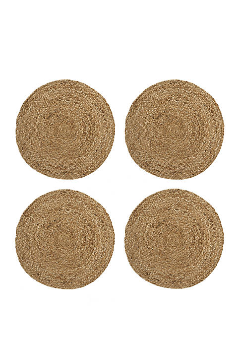 Elrene Everyday Casual Braided Jute Round Placemat Set