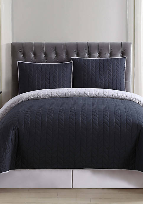 Black and Gray Reversible Quilt Set