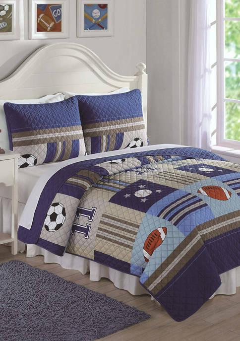 My World® Denim and Khaki Sports Quilt Set