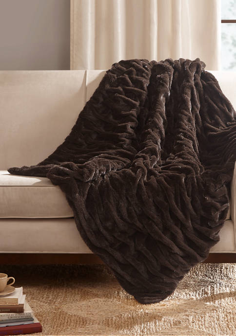 Madison Park Luxury Ruched Fur Throw