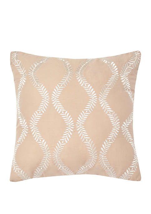 Marilyn Embroidered Taupe Decorative Pillow