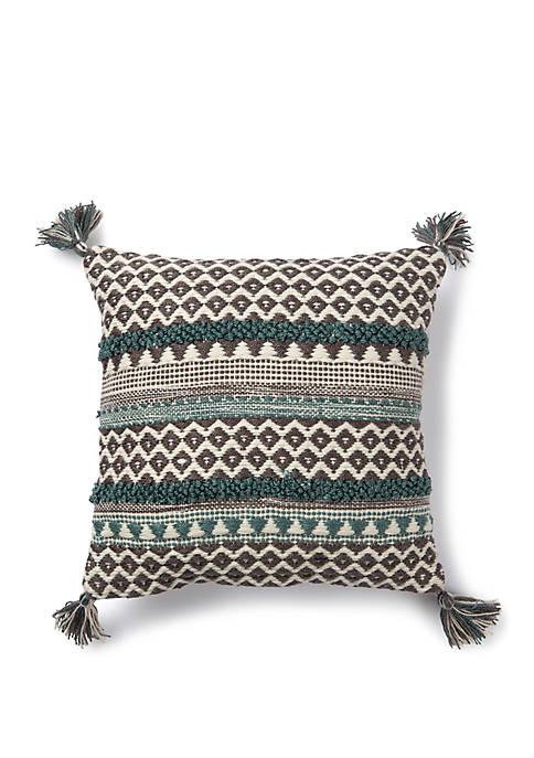 Teal Stripe Pattern Throw Pillow