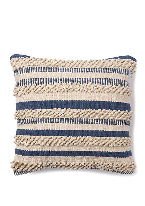 Indigo Textured Stripe Throw Pillow