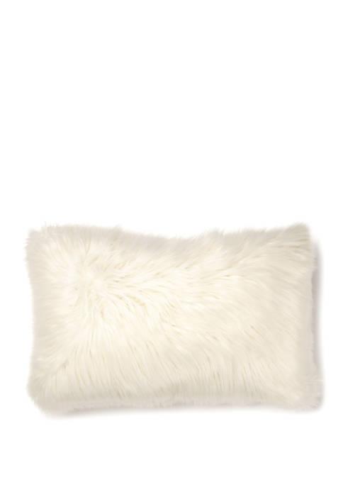 Angora Faux Fur Oblong Decorative Throw Pillow