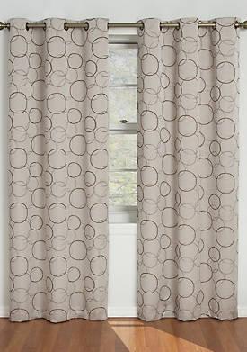 Linen Black Meridian Blackout Window Curtain Panel