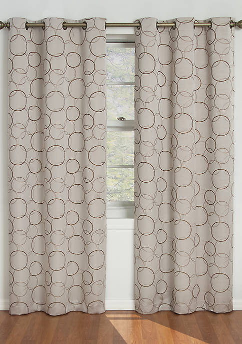 Linen Black Meridian Blackout Window Curtain Panel