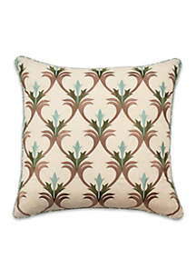 Jacobean Flair Embroidered Decorative Pillow