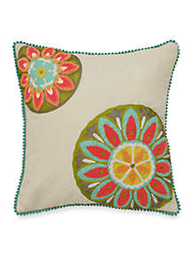 Wild Card Embroidered and Applique Decorative Pillow