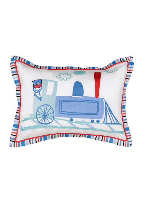Kids All Aboard Embroidered Decorative Pillow