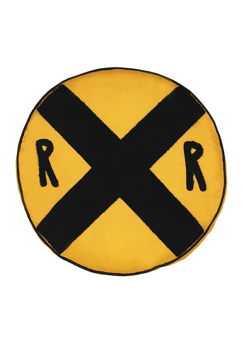 Kids All Aboard Railroad Sign Decorative Pillow