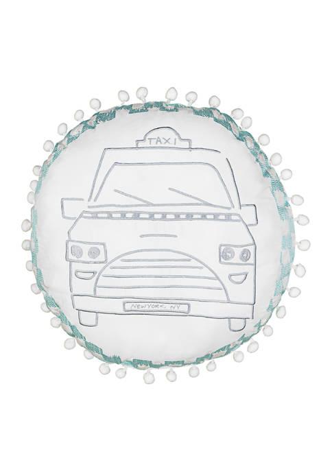 Spree Cityscape Taxi Cab Decorative Pillow