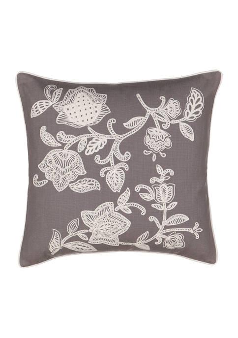 Stencil Vine 20x20 Embroidered Decorative Pillow