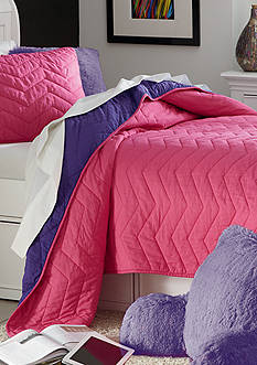 Home Accents® Chevron Pink and Purple Reversible Quilt