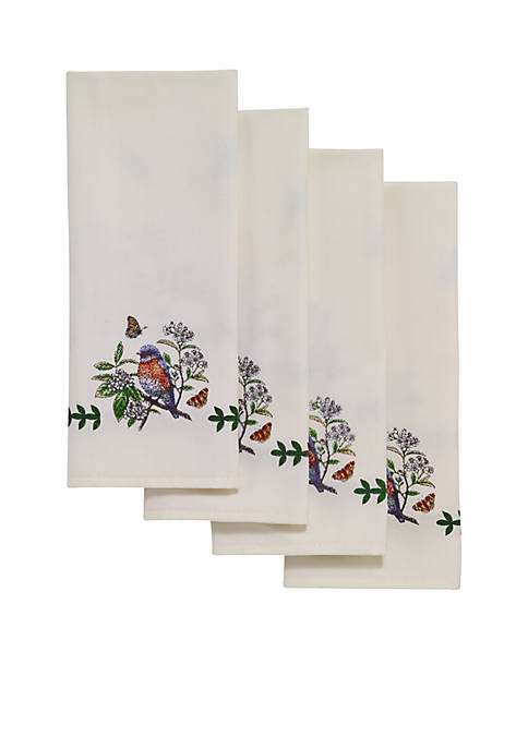 Avanti Botanic Garden Birds 4 Piece Embroidered Napkin