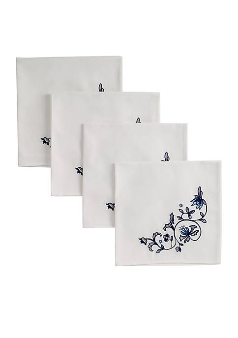 Avanti Blue Portofino 4 piece Embroidered Napkins