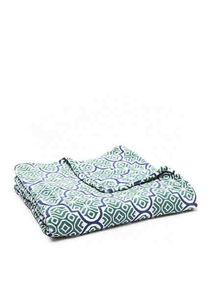 Home accents batik quatrefoil microplush throw