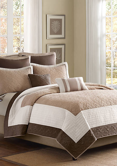 Attingham Beige 7-Piece Full/Queen Coverlet Set 90-in. x