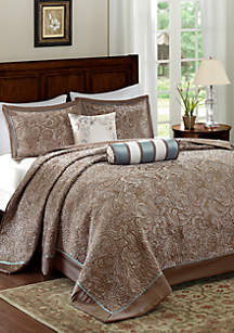 Aubrey 5-Piece Jacquard in Blue Bedspread Set
