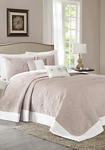 Ashbury 5-Piece Reversible Bedspread Set Khaki