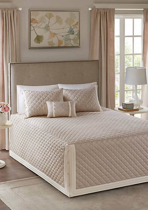 Breanna 4-Piece Tailored Bedspread Set Khaki