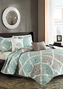 Madison Park Claire 6-Piece Quilted Coverlet Set