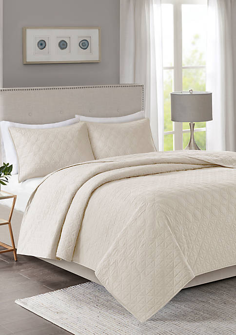 Linnette 3-Piece Ivory Coverlet Set
