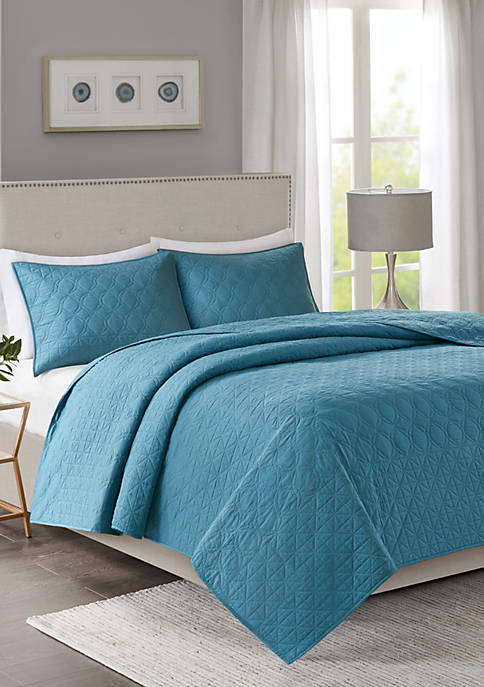 Madison Park Linnette 3-Piece Teal Coverlet Set
