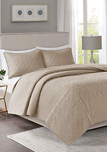 Linnette 3-Piece Taupe Coverlet Set
