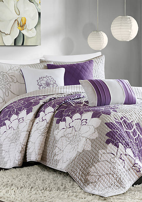 Madison Park Lola 6-Piece Quilted Purple Coverlet Set