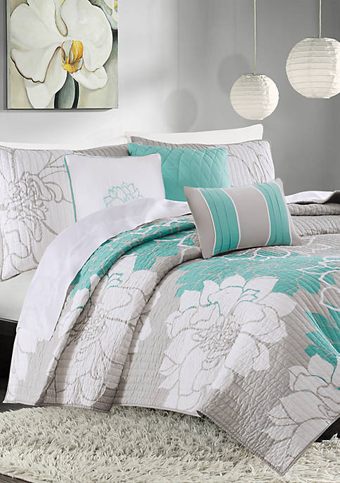 Madison Park Lola 6-Piece Quilted Aqua Coverlet Set