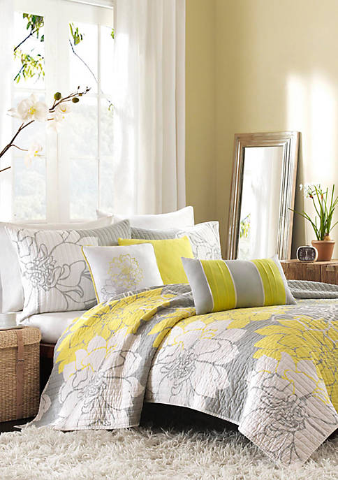 Madison Park Lola Gray/Yellow 6-Piece Full/Queen Coverlet Set