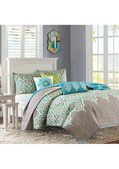 Madison Park Nisha 6-Piece Quilted Teal Coverlet Set