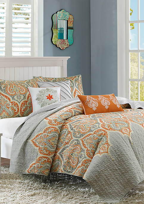 Madison Park Nisha 6-Piece Quilted Orange Coverlet Set