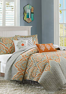 Madison Park Nisha 6-Piece Quilted Orange Coverlet Set