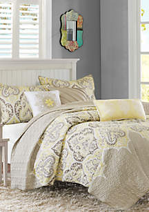 Madison Park Nisha 6-Piece Quilted Yellow Coverlet Set