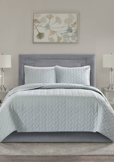 Madison Park Noel 3-Piece Coverlet Grey Set