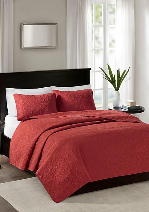 Quebec 3-Piece Coverlet Red Mini Set