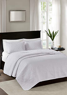 Madison Park Quebec 3-Piece White Bedspread Set
