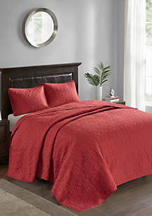 Madison Park Quebec 3-Piece Red Bedspread Set