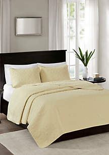 Madison Park Quebec 3-Piece Yellow Coverlet Set