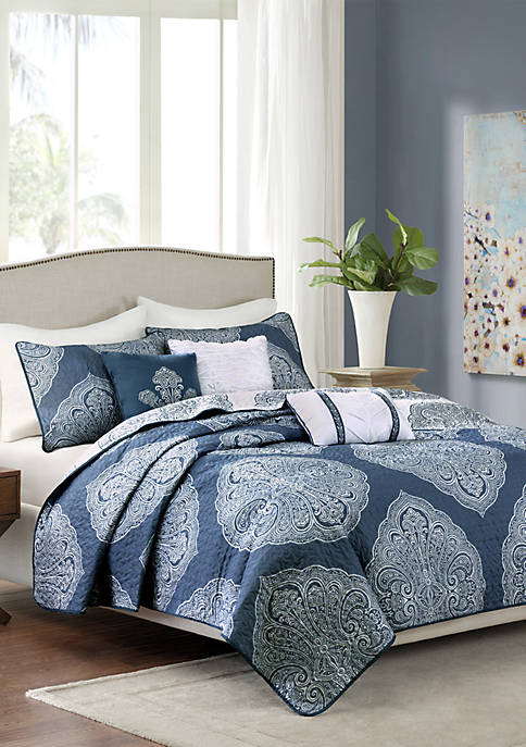 Madison Park Rachel 6-Piece Reversible Quilted Navy Coverlet